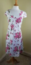 TALIA BENSON  100% LINEN PINK & WHITE FLORAL SUMMER DRESS - SMALL -MADE IN ITALY
