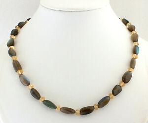 Labradorite Chain With Citrine Gemstone Yellow Blue Sheen Necklace ca.45 CM