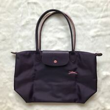 07de9aea35f0 Auth Longchamp Le Pliage Club Collection Horse Embroidery Small Tote  Bilberry S
