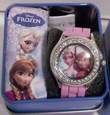"Disney Kids' ""Frozen Anna and Elsa"" Watch with Pink Rubber Band Diamond Accents"