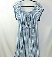 Blush Maternity Dress Peasant Style White w/ Blue Stripes Navy Trim XL Cotton