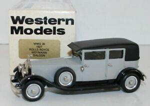 WESTERN MODELS 1/43 SCALE WMS36 - 1927 ROLLS ROYCE WEYMANN SALOON - GREY/BLACK