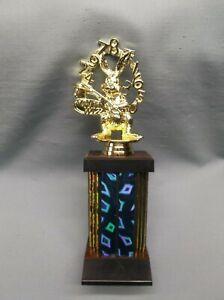 math wiz bunny trophy wide blue column teacher award