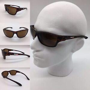 Men's Brown Tint Lenses Tortoiseshell Frame Wrap Sport Sunglasses 100% UV 400
