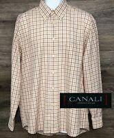 Canali Sportwear Men's Cotton Brown Plaid Long Sleeve Button Down Shirt Italy L