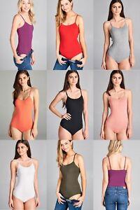 Cami Bodysuit Spaghetti Snap Button SOFT COTTON SPANDEX SLEVELESS TAN TOP S M L