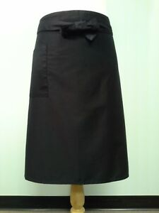 Long Apron, Black with 1 pockets, Thick waist band.