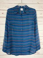 Cabi Women's S Small Blue Striped Button Long Sleeve Alex Top Blouse Shirt $89
