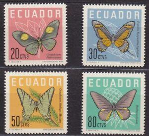 ECUADOR #680-683 MNH COMPLETE SET OF BUTTERFLIES BACK SHOWN