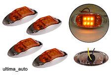 4X 12V 6 LED Orange Ambré LATÉRAL CHROME FEUX feux de position pour remorque