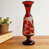 Bohemian ruby red flashed glass vase etched bird and leaf design 9.75 inches