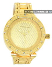 """mens big heavy gold tone ice out CZ clubbing watch bling dial 8"""" bracelet"""