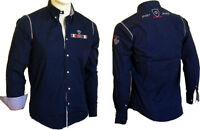 Camicia Uomo Ragazzo Maniche Lunghe OVERMAIL Navy Shirt  B346  Tg S M L XL XXL