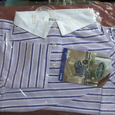 RUGBY POLO Dog Shirt Violet Striped Large 100% Cotton Dress for Success
