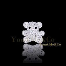 Crystal Little Bear Brooch Pin 18k White Gold Ep Brilliant Cut