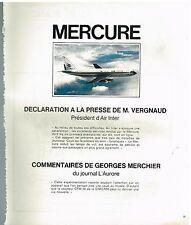 Publicité Advertising 1975 Avion Mercure Marcel Dassault