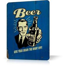 Metal Tin Sign Beer Give Your Brain Night Off Retro Funny Decor Bar Pub Poster