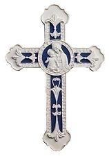 Wall Cross Madonna and Child Della Robbia White Blue 9 inch Decorative