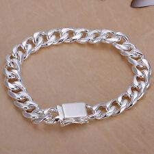 Wholesale 925Sterling Silver 10MM Square Agraffe Men Chains Bracelet 8inch H037