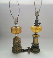 Pair Of Vintage Amber Hand Blown Glass with Cherub & Brass Base Desk Lamps
