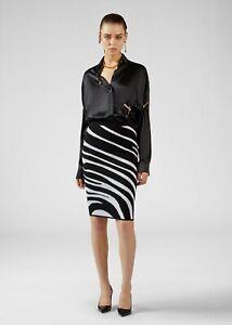VERSACE 695$ Zebra Motif Knit Skirt In Black & White Stretch Jacquard