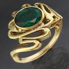 DESIGNER Wriggly Setting Solid 18k Yellow GOLD OVAL EMERALD SOLITAIRE RING Sz O
