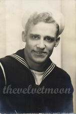 Vintage Male Military -1945 Handsome Navy Portrait Sailor in Professional Studio