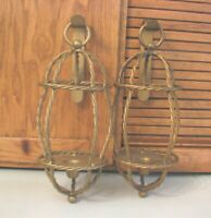 Pair Wall Sconces HOMCO Home Interiors MCM Gothic Candle Holders Vintage 70's