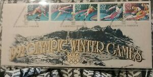 "1992 OLYMPIC WINTER GAMES USA FIRST DAY STAMPED COVER 4"" by 9 1/2""  Large"