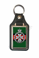 ROYAL GREEN JACKETS CAP BADGE ON A LEATHER STYLE KEY RING. INSERT 2.5 X 4 cm