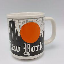 New York City Skyline Souvenir Mug Twin Towers Orange Sun