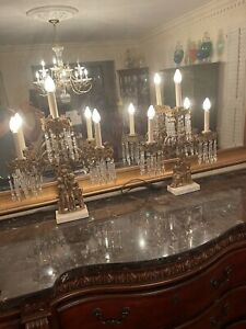 Antique 2 Piece Girandole Candelabra Candlestick Mantle Set w Crystal Prisms
