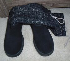 BRAND NEW UGG AUSTRALIA BLACK COMBO SUEDE SLOUCH KNIT BOOTS SIZE 5 M