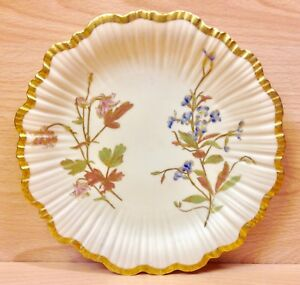 """Victorian Royal Worcester """"Floral Study"""" Display Plate 1893."""