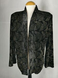 Ladies Jacket Size 16 EWM Black Velvet Gold Shimmer Party Evening
