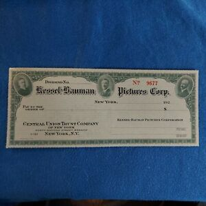 OLD VINTAGE UNUSED KESSEL BAUMAN PICTURES CORP UNC CHECK 1920'S Great condition