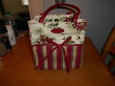 Longaberger Holiday Poinsettias Holly Purse/Tote