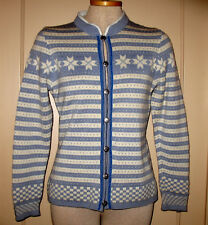 Dale of Norway Womens Sweater Cardigan Pewter Button Blue Stripes Checks sz S