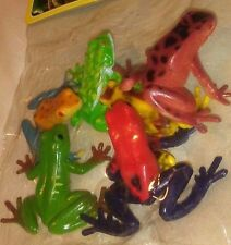 Set of MINIATURE tiny plastic frogs 1 bag o 6 amphibians