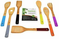 Durable and Long Lasting Cooking Utensils Kitchen Bamboo Spoon Spatulas, 6 Set