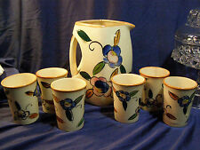 Vintage Art Deco Ceramic Pitcher & 6 Cups Hand Painted  Japan Majolica 1950's