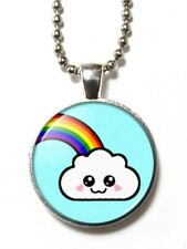 Magneclix magnetic pendant-Cute Kawaii Cloud and Rainbow