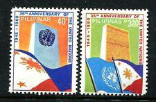 Philippines 1489-1490,MNH.Michel 1378-1379. UN Headquarters,Flags,1980.