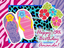 SANDALS Beach Birthday Edible ICING Image Decoration CAKE Topper FREE SHIPPING
