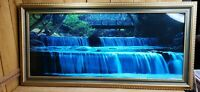 Vintage Motion Lighted Waterfall Bridge Forest Picture Bird Sounds Large 39x19x3