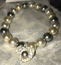 Avon Sweet Pearlesque Bracelet NIB Grey White Heart Charm 2011