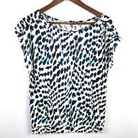 Ann Taylor LOFT Womens Top Size M Multicolor Short Sleeve Shirt Button Shoulder