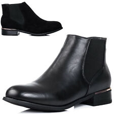 Womens Flat Chelsea Ankle Boots Sz 3-8