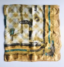 "Trussardi Silk Scarf, Regal Walking Cane Print, Gold & Jade, 34"" Square, Ex Cond"