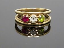 Vintage 0.7 CT Ruby, Quartz and Peridot 14k Gold Ring, 3.1g, size 6